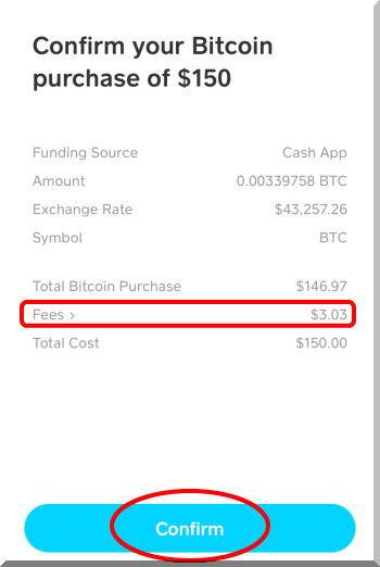 Cash AppキャッシュアップでBitCoinビットコインを購入。今日の購入手数料は2.2%で少し高めでした。