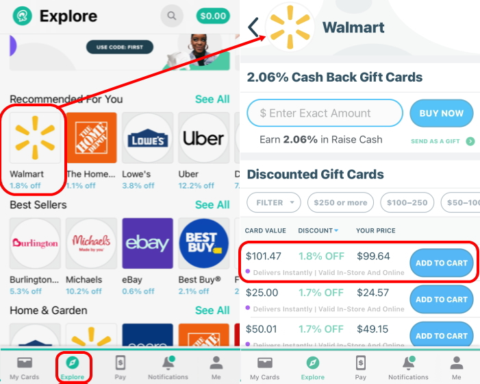 Raiseレイズ割引ギフトカードの購入方法。アプリで簡単にディスカウントされたギフトカードやデジタルギフトカードを購入することができます。