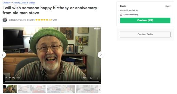 Fiverrで人気の、80代のおじいちゃんがお誕生日や記念日を祝ってくれるというサービスもあります。