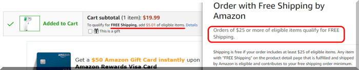 25ドル以上にまとめ買いで送料無料に