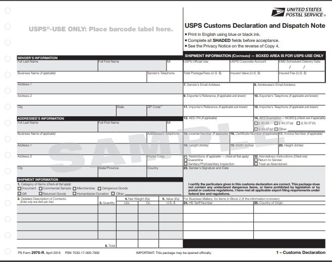 アメリカから日本へ郵送する際に必要な関税書類