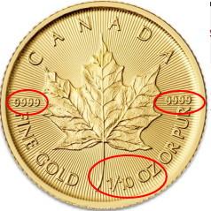 カナダのメイプルリーフ金貨10分の1オンス