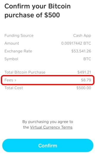 CashAppのBitcoin購入手数料