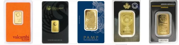 アメリカで買える純金のバー各種