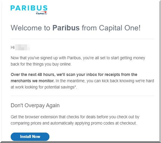 Paribusパリバスからのメールが届いたら、そこからCapital One Shoppingの拡張機能をダウンロードすることもできます