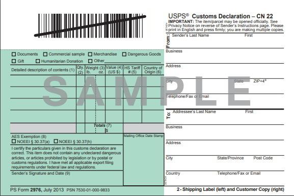 日本へ郵送するときに必要な関税書類