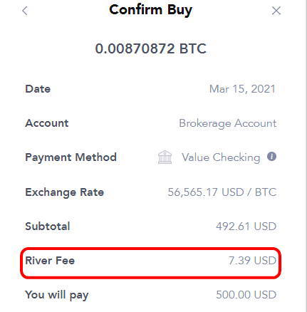 RiverでBitcoinを購入