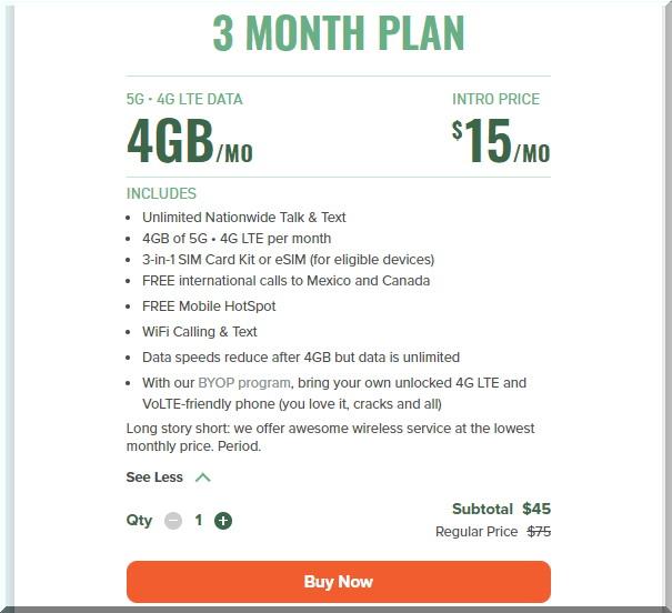 Mint Mobileミントモバイルの3か月プラン4GBの内容はこちら!