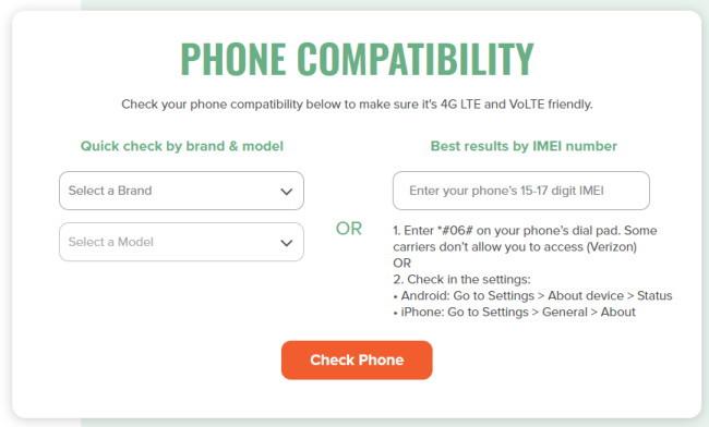 自分のケータイがMint Mobileミントモバイルで使えるかチェックすることができます