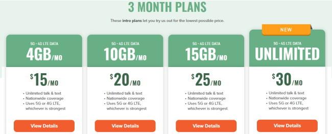 Mint Mobileミントモバイルの料金は明瞭。最初の3か月の金額がこちら。隠れたフィーもありません。