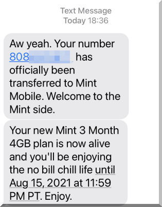 Mint Mobileミントモバイルへ番号移行完了です