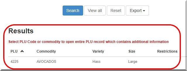 PLUコードの検索結果です