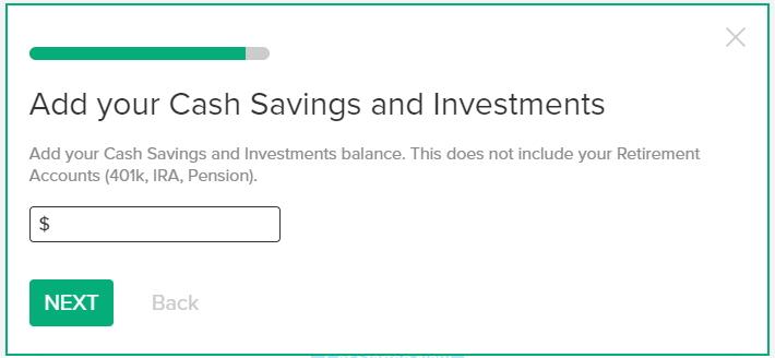無料のかんたんベスト・リタイアメント計算機の使い方 年金に関係の無い貯金(キャッシュ・セービング、投資)の残高を入力