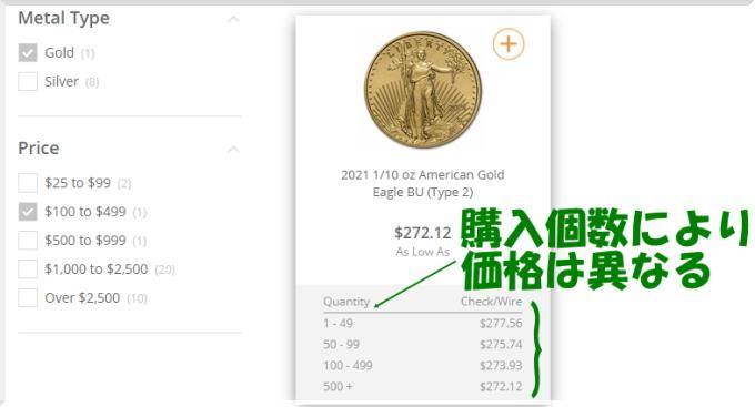 Apmexでの注文方法を画像付きでご案内 価格表示はこんなふう