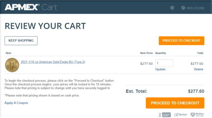 Apmexでの金の注文方法を画像付きでご案内