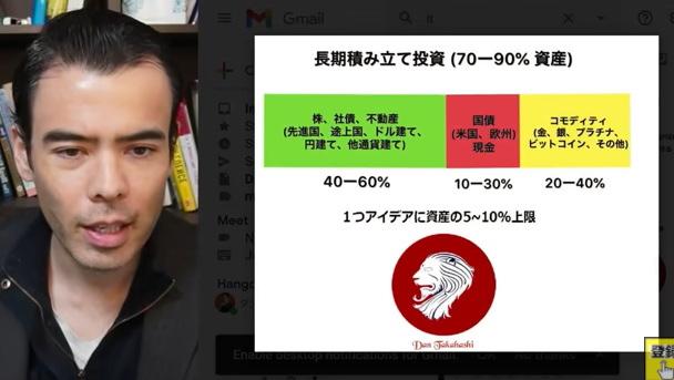 高橋ダンさんのお勧めお金の持ち方の割合